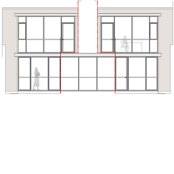 6/7|Unfolded courtyard elevation